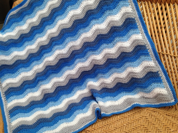 Baby Blue Ripple Blanket by Lisa Robins at lrobins1@wordpress.com